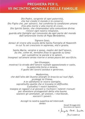 Family 2012: preghiera arc. Angelo Scola