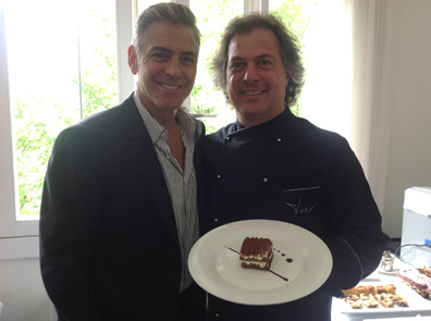 Lo chef Tino Vettorello con George Clooney