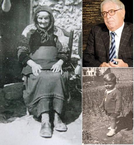 Domenico Lagozzo oggi, da bambino e la nonna Mara Tiresa