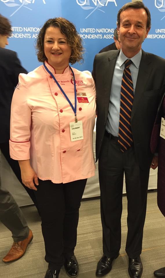Sonia Balacchi e amabasciatore italiano ONU Sebastiano Cardi