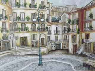 Piazza Duomo Cosenza particolare olio su tela  35x50