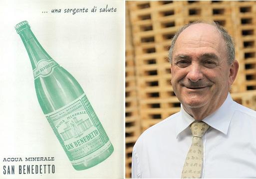 Inserzione pubblicitaria dell'acqua San Benedetto - primi anni 60; a destra il Presidente Enrico Zoppas