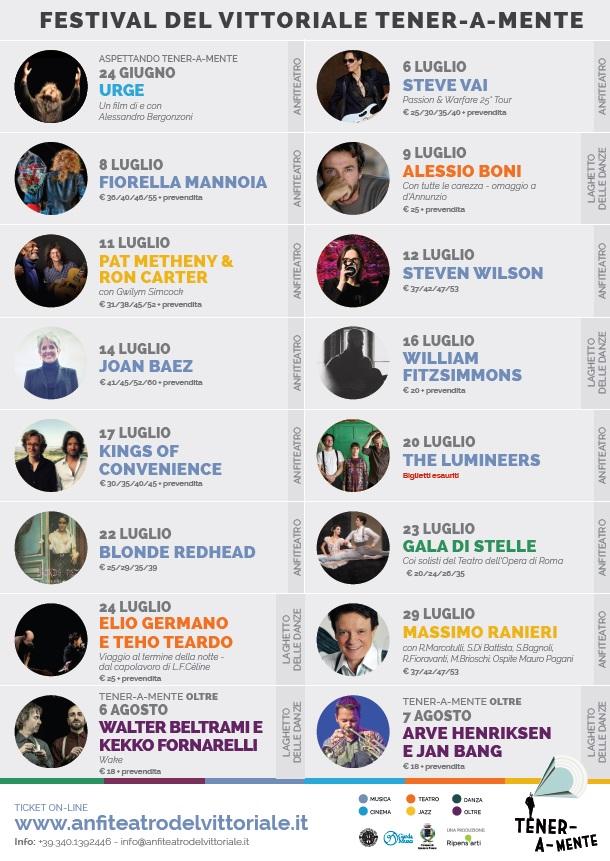 Festival del Vittoriale - Tener a mente 2016 programma