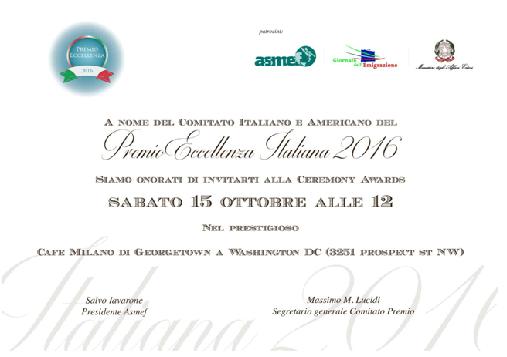 PREMIO ECCELLENZA ITALIANA A WHASINGTON