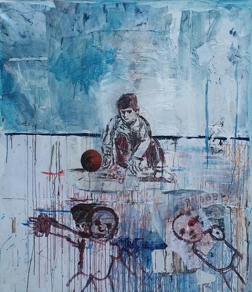 01 Giovanni Cerri The Camp Nativity 2016 t.m. su tela cm. 150x130
