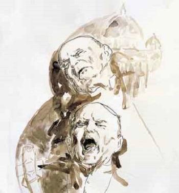 Francesco Guadagnuolo - Grido muto e abbandono alla sofferenza 2005 china acquerellata
