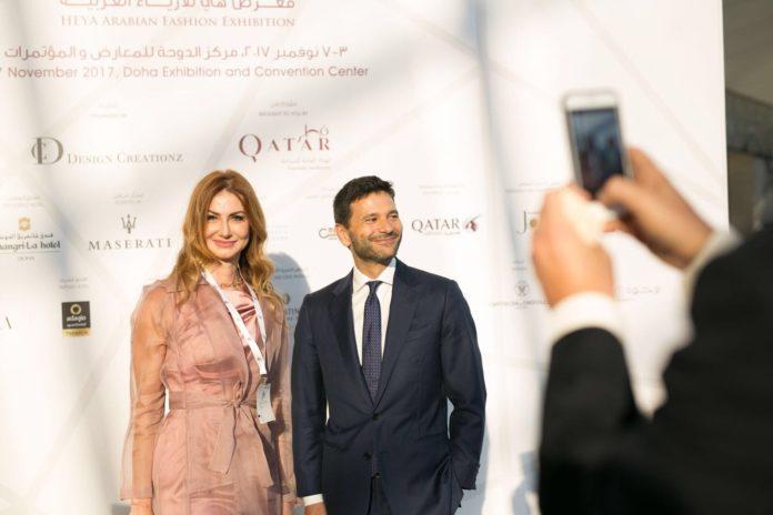 Valeria Mangani con Pasquale Salzano ambasciatore italiano in Qatar