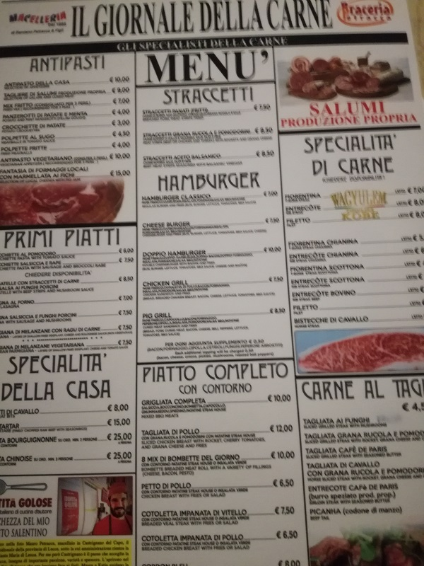 MENU AAL CARTE PETRACCA