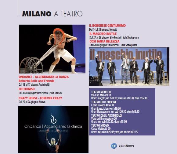 Milano teatri giugno 2018