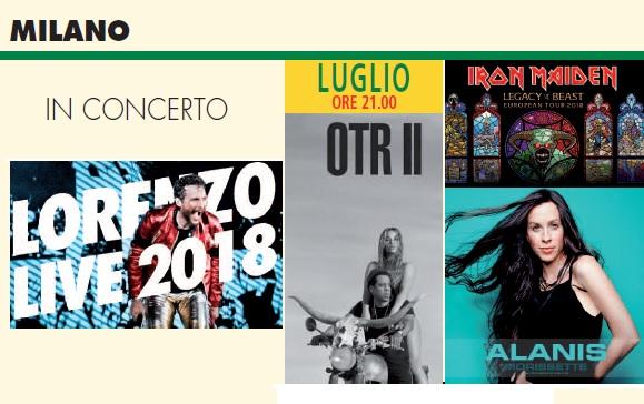 Milano concerti luglio 2018