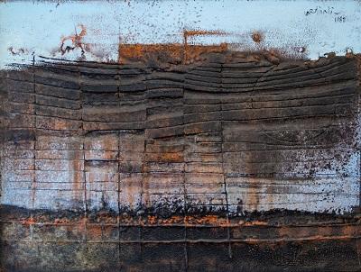 Franco Cardinali Chant damour sur la falaise 1985 olio su tela con caseina e sabbia cm 90x110 ph. Luca Maccotta r