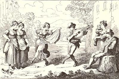 La musica tradizionale del Lazio - Saltarello. Illustrazione di Bartolomeo Pinelli