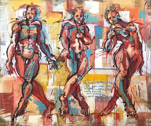 RvB-Arts Vittorio-Iavazzo Studio-per-i-tre-fratelli tecnica-mista-su-carta 100-x-120-cm light