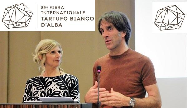 Davide Oldani e Liliana Allena durante la presentazione Fiera Internazionale del Tartufo a Grinzane Cavour