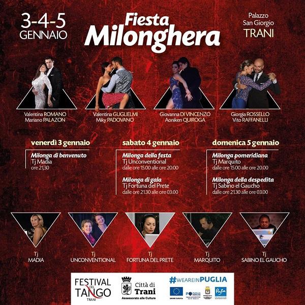 Fiesta Milonghera 3-4 e 5 gennaio 2020 per Trani sul filo- Palazzo San Giorgio