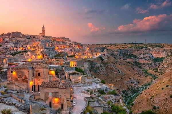 Matera Italy. Cityscape aerial image of medieval city of Matera Italy during beautiful sunset