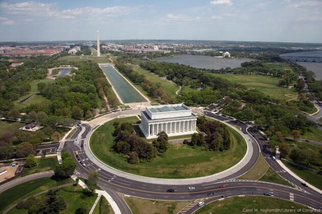 Aerial Of Mall Showing Lincoln Memorial, Washington Monument And