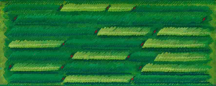 Campi Campo del vento, 1986, Vinilici e pastello a cera su tela, 60 x 150 cm, Fondazione Gastone Biggi