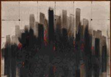suite Americana Terza (New York) Manhattan Light, 1990, Vinilici e pastello a cera su tela, 100 x100 cm, Fondazione Gastone Biggi