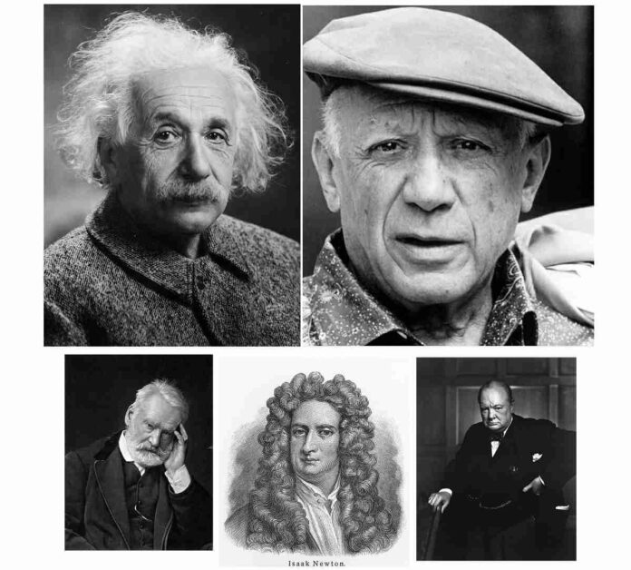 Albert Einstein Pablo Picasso Sir Winston Churcill Isaac Newton Victor Hugo