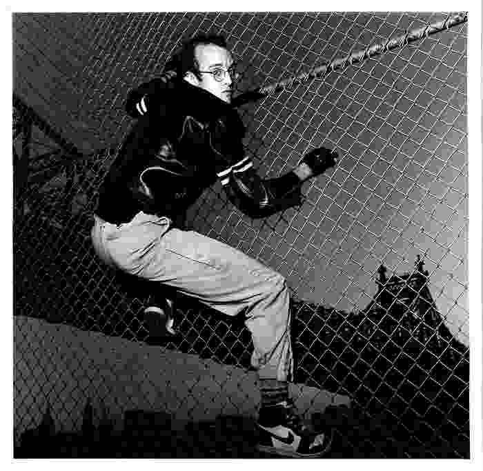 Gianfranco Gorgoni Keith Haring in Front of Queens Bridge NYC 1985