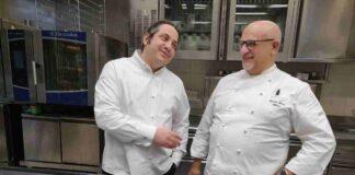 Lo chef stellato Claudio Sadler insieme al maestro pasticcere Gianluca Fusto
