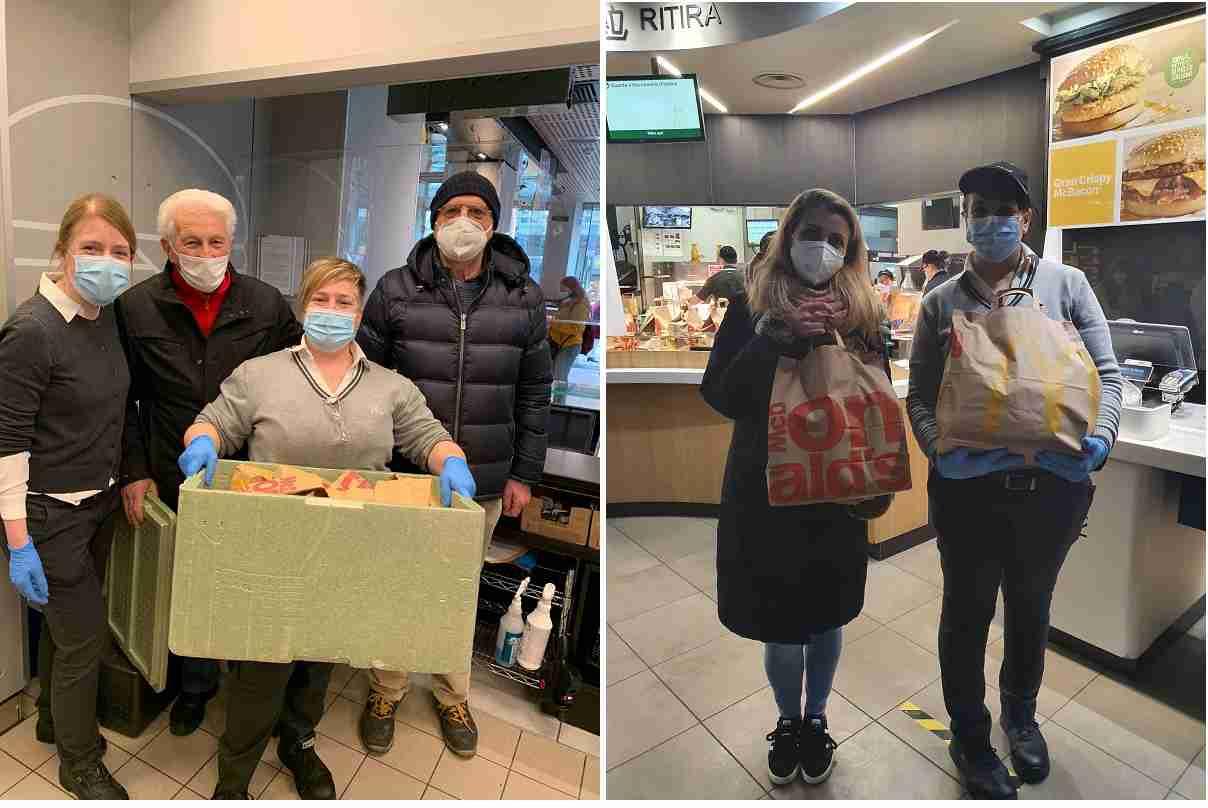 McDonald's Sempre aperti a donare Milano Bosia e a destra Rozzano