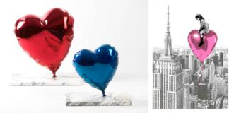 Mr. Brainwash - left: Balloon heart chrome-painted polished bronze on marble base - 41.3x 40.6x25.4 cm; right: -Big City Big dreams Pink- 57x76cm