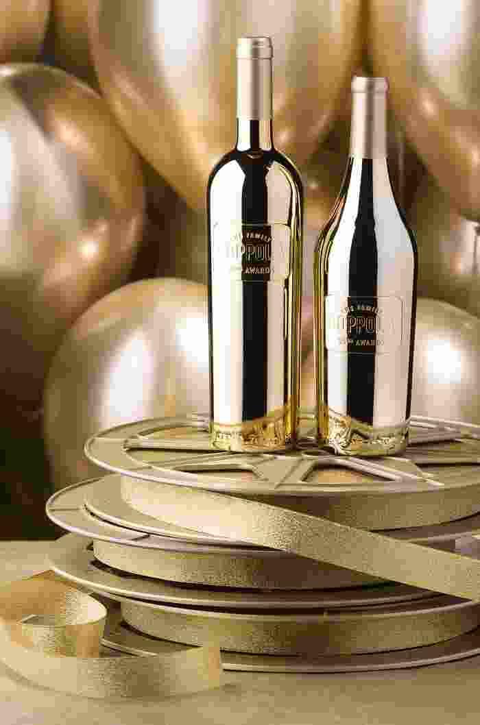 Coppola Winery gold bottles