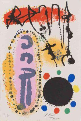 Joan Miró, à la santé du serpent, 1954, litografia a colori, 280x190 mm, 50 esemplari, Mourlot