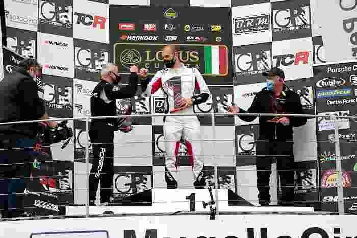 PCGT Podio Panta GT4 con milanese Martino Rigo primo Mugello2021