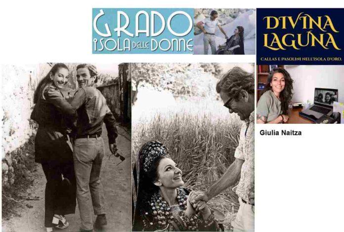 A sinistra Maria Callas e Pasolini 1970, al centro sul set di Medea 1969