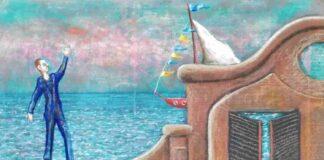 Enrico Benaglia La partenza pastello su carta applicata su tela cm 50x65