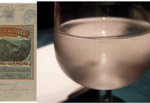 Etichetta dell'acqua minerale Fiuggi, 1889