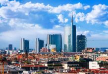 milan view on the skyline from the duomo lombardia italy